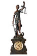 Godess of justice, holding balance and sword, on a table clock