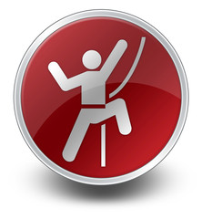 "Red Glossy Icon ""Rock Climbing"""