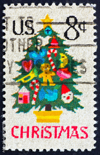Postage stamp USA 1973 Christmas tree