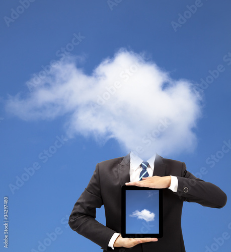 businessman with cloud thinking concept and holding tablet pc