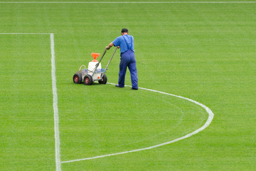Painting lines on the pitch