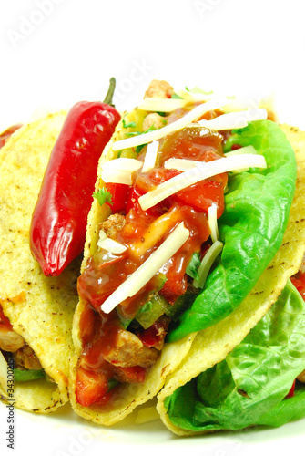 Mexican tacos and hot salsa sauce