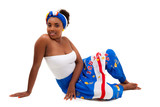 Beautiful african teenage girl sitted on the floor