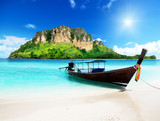 Fototapety long boat and poda island in Thailand