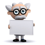 3d Mad Scientist holds a blank board