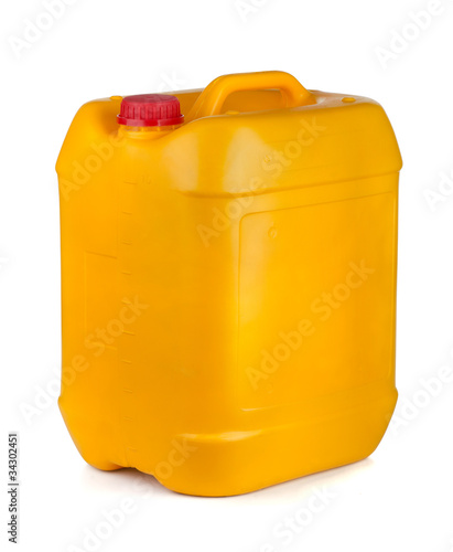 Yellow plastic container with lid and handle