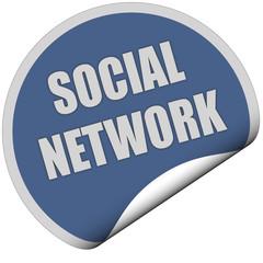 Sticker blau rund curl unten SOCIAL NETWORK