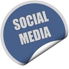 Sticker blau rund curl unten SOCIAL MEDIA