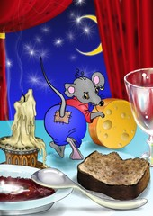 mouse, a candle, cheese