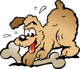 Hand-drawn Vector illustration of an Puppy Dog with a big bone