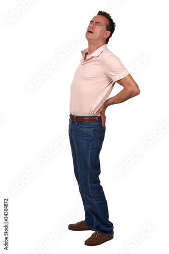 Full Length Portrait of Middle Age Man with Back Pain