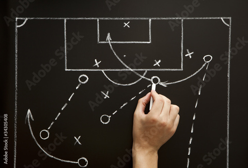 Man drawing a soccer game strategy