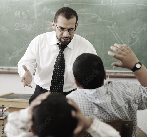 teacher yelling at pupil