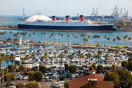 Fotobehang Los Angeles Panorama of Long Beach Harbor, California