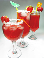 fruit punch cocktail with strawberry