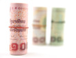 Close up roll of 100 THAI BAHT.