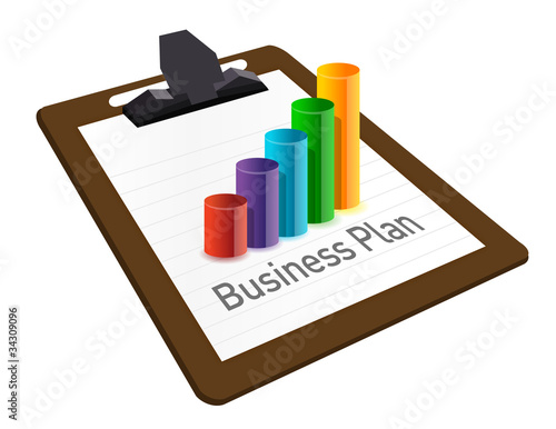 business plan on a clipboard. illustration design