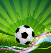 vector Soccer Ball background, grass and colorful wave