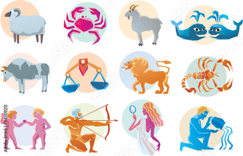 Illustrations of the horoscope zodiac signs
