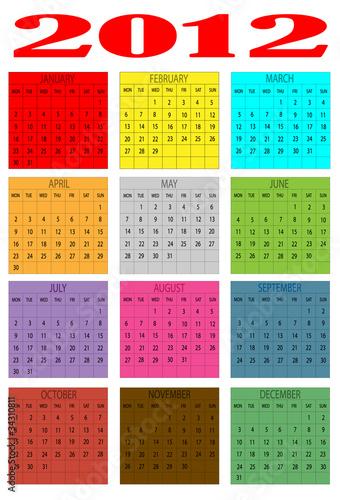 Calendario en ingles 2012