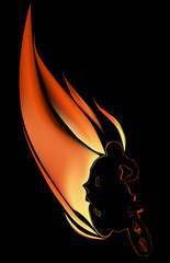 man on motorcycle in flame illustration