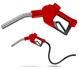 red gas nozzle pointing isolated on white background