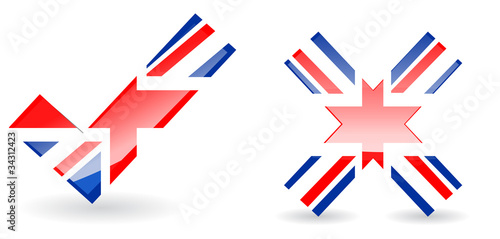 abstract uk right and wrong isolate on white background