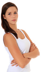 Attraktives Mädchen schaut skeptisch