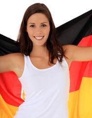 Attraktives Mädchen mit Deutschlandfahne