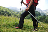 Walking up to mountain hills, sport adventures poster