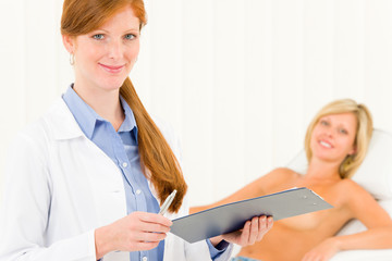 Breast plastic surgery female doctor examination
