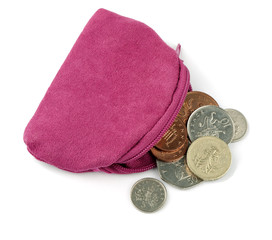 Pink change purse with UK coins, over white
