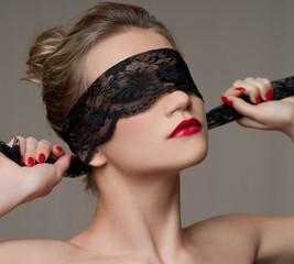 Fashion portrait with black lace