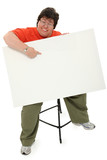 Happy Obese Woman with Blank Sign clipping path