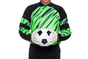 Football goalkeeper holding ball isolated