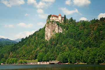 Bled castle above Lake Bled in Slovenia.