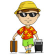 Cartoon vacation outfit man with bag
