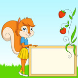 Cartoon furry squirrel with board on grass