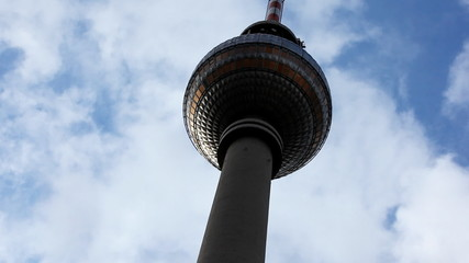 Berlin TV tower in front of blue sky