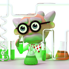 3d Mad Scientist loves his job