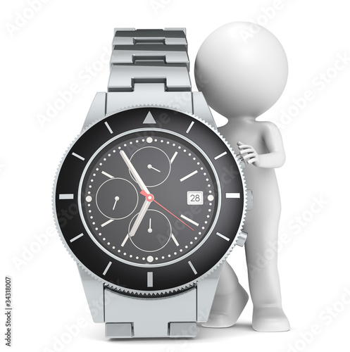 Illustration: Time. 3D little human character with a Chronograph Watch