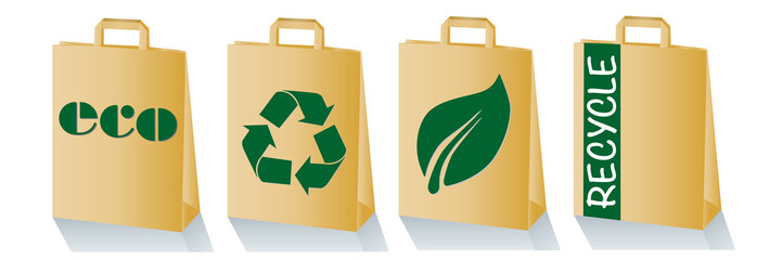 paper bag with recycling icons