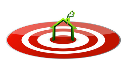 green house in the center of a glossy red target.