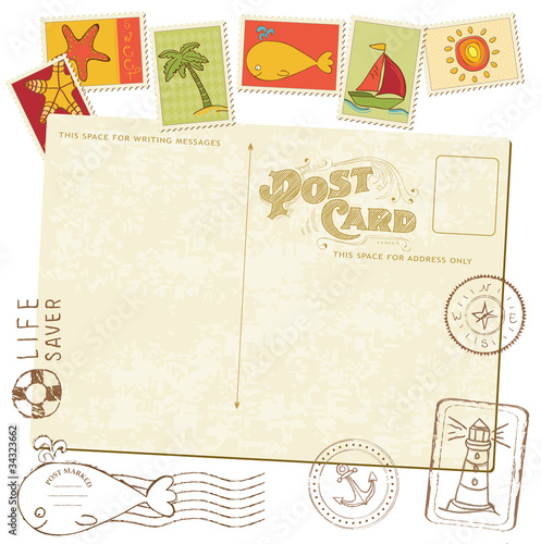 Retro Invitation postcard with SEA stamps - for design and scrap