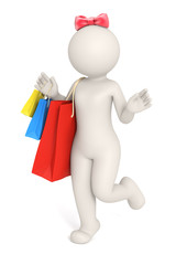 3d woman or girl with shopping bag