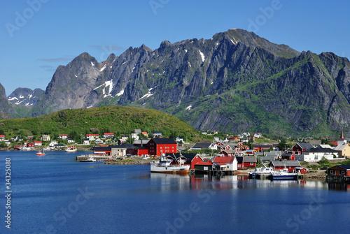 Fototapeten,fischerdorf,lofoten,fjord,fähre