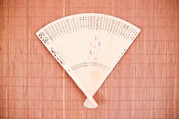 Asian Fan on Bamboo Mat