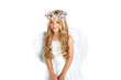 Angel little girl with wings and children flowers crown
