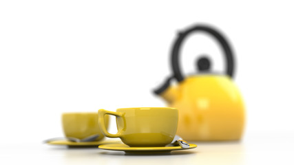 Yellow Coffee Cups & Kettle