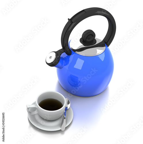 Blue Kettle & Coffee Cup